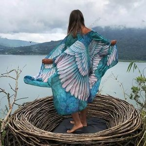 Tie Dye Ombré Wing Open Angel Kimono, Ocean Blue